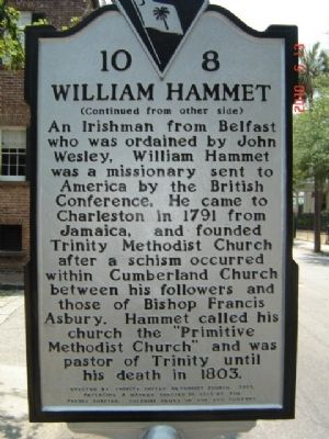 Trinity Methodist Church Original Site / William Hammett Marker image. Click for full size.