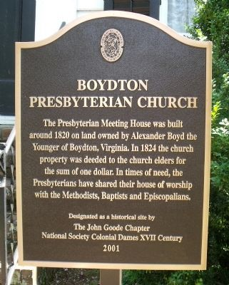 Boydton Presbyterian Church Marker image. Click for full size.