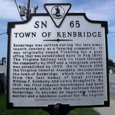 Town of Kenbridge Marker image. Click for full size.