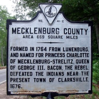 Mecklenburg County Marker (reverse) image. Click for full size.