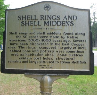 Shell Rings and Shell Middens Marker - Front image. Click for full size.