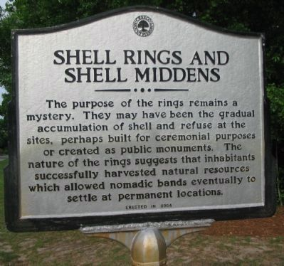 Shell Rings and Shell Middens Marker - Reverse image. Click for full size.