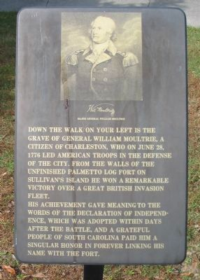 Grave of General William Moultrie Marker image. Click for full size.