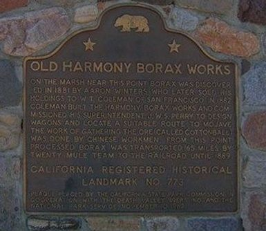Old Harmony Borax Works Marker image. Click for full size.