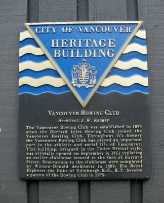 Vancouver Rowing Club Marker image. Click for full size.