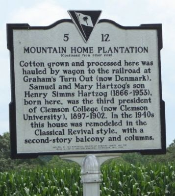 Mountain Home Plantation Marker, reverse side image. Click for full size.