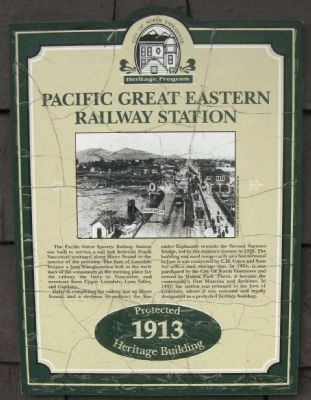 Pacific Great Eastern Railway Station Marker image. Click for full size.