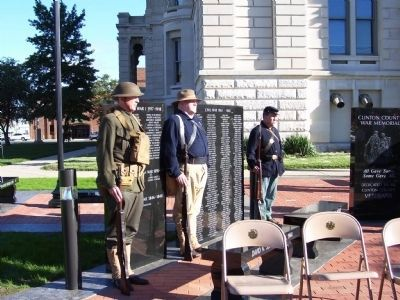 Re-enactors at Dedication of Clinton County War Memorial image. Click for full size.