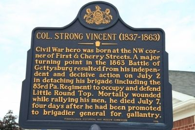 Col. Strong Vincent Marker image. Click for full size.