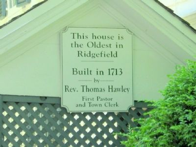 Rev. Thomas Hawley House Marker image. Click for full size.