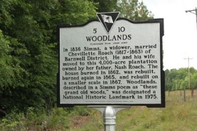 Woodlands Marker, reverse side image. Click for full size.