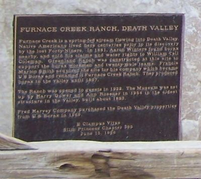 Furnace Creek Ranch, Death Valley Marker image. Click for full size.