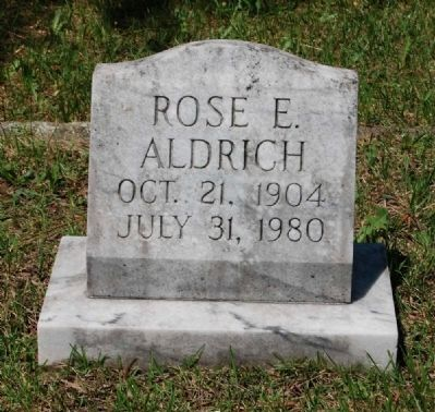Rose E. Aldrich Tombstone image. Click for full size.