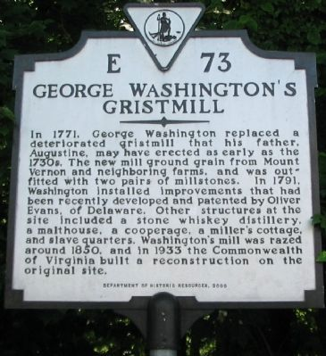George Washington's Gristmill Marker image. Click for full size.