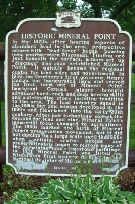 Historic Mineral Point Marker image. Click for full size.