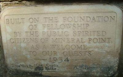 Stone Marker on Building in Water Tower Park image. Click for full size.