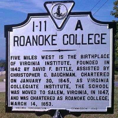 Roanoke College Marker image. Click for full size.