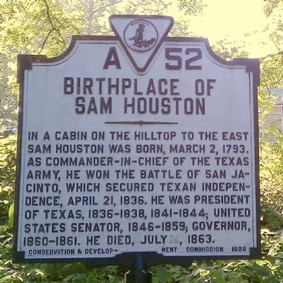 Birthplace of Sam Houston Marker image. Click for full size.