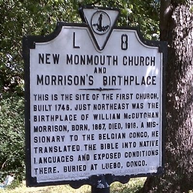 New Monmouth Church and Morrison's Birthplace Marker image. Click for full size.