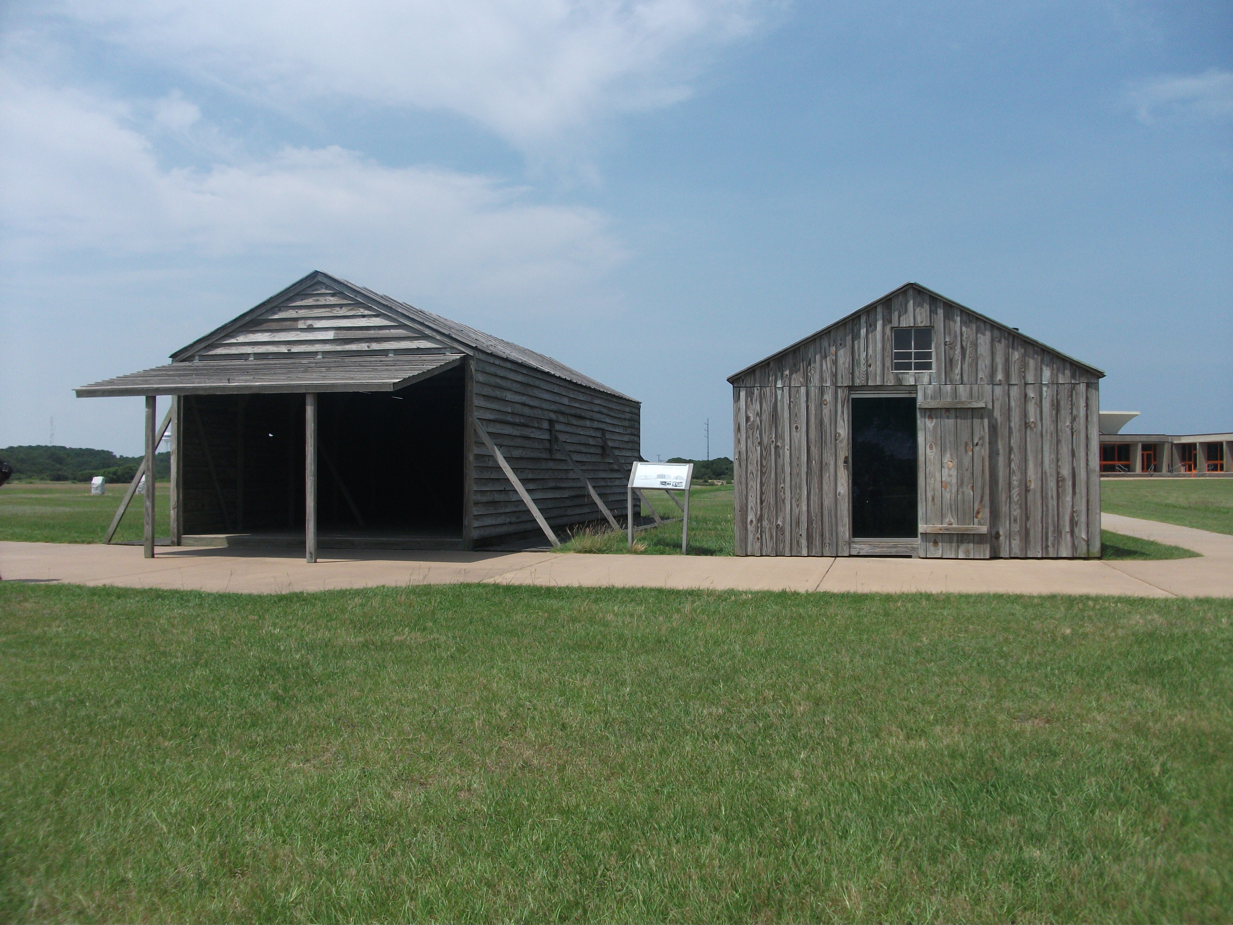 The Camp Marker and Replica Buildings
