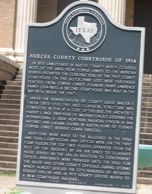 Nueces County Courthouse of 1914 Marker image. Click for full size.