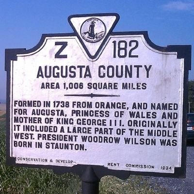 Augusta County Marker (reverse) image. Click for full size.