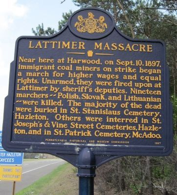 Lattimer Massacre Marker image. Click for full size.