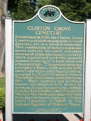 Clinton Grove Cemetery Marker image. Click for full size.