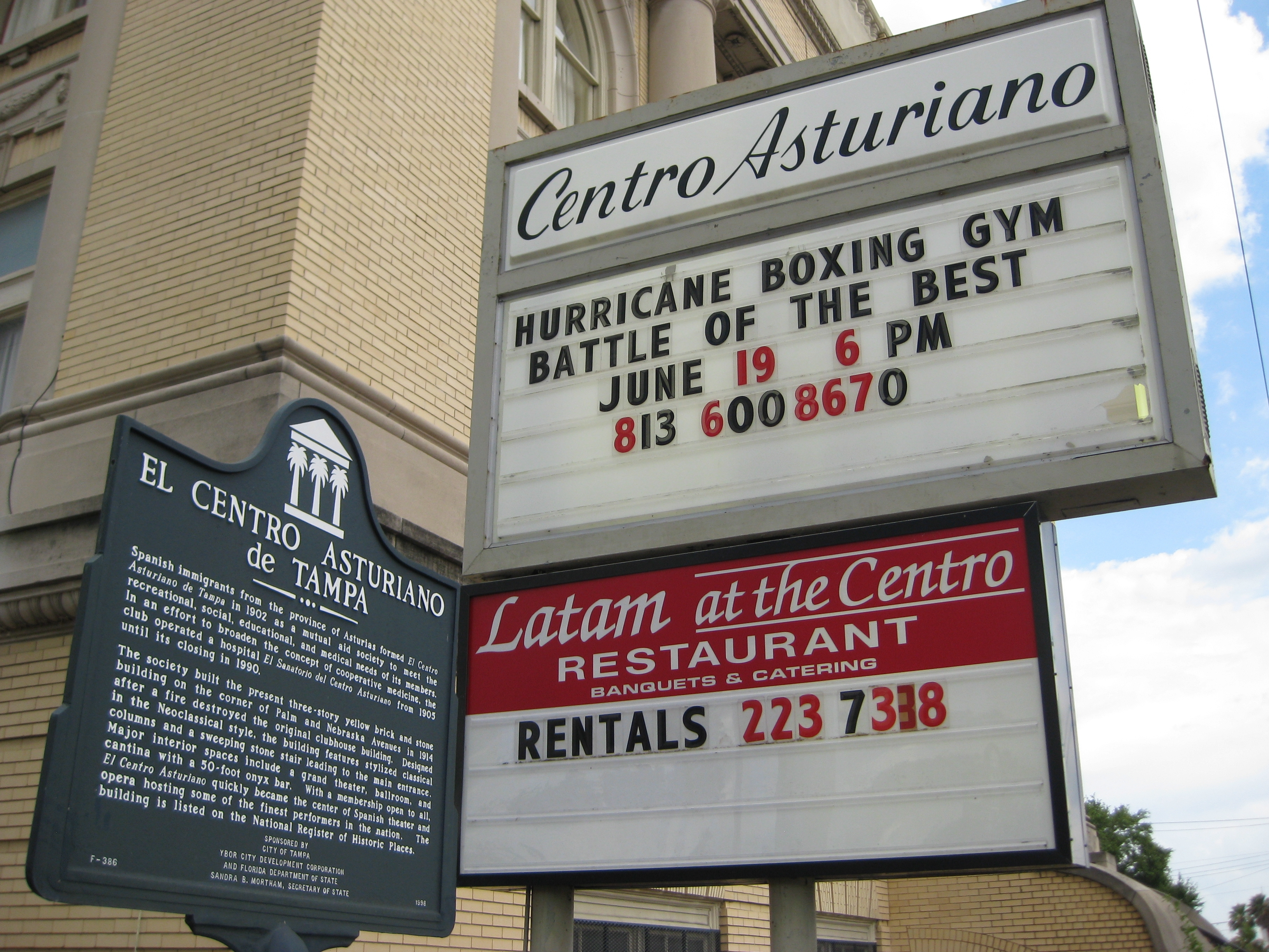 Centro Asturiano Signs and Historical Marker