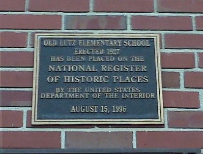 Old Lutz Elementary School NRHP Plaque image. Click for full size.