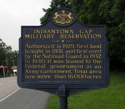 Indiantown Gap Military Reservation Marker image. Click for full size.
