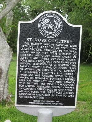 St. Rose Cemetery Marker image. Click for full size.