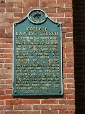 College Baptist Church Marker image. Click for full size.