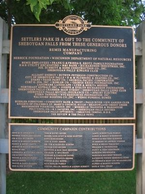 Settlers Park Donors Sign image. Click for full size.