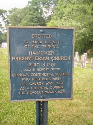 Hanover Presbyterian Church & Unknown Continental Soldiers Marker image. Click for full size.