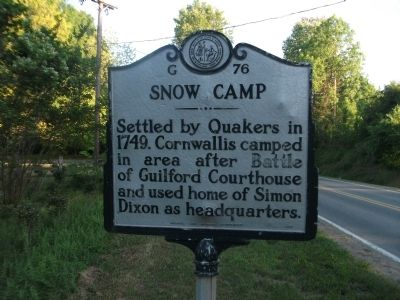 Snow Camp Marker image. Click for full size.