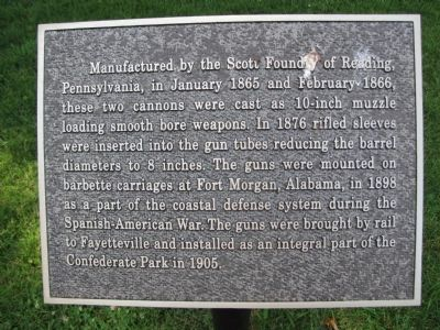 Confederate Park Cannon Marker image. Click for full size.