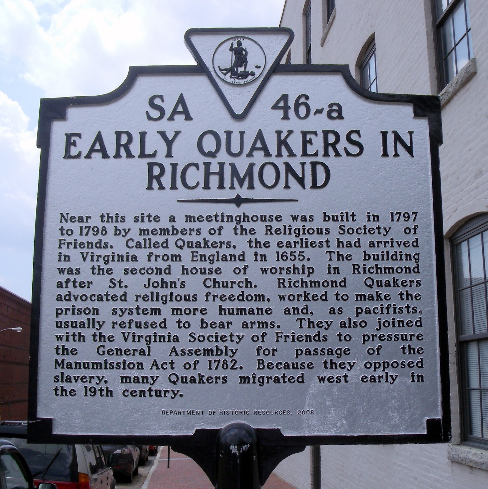 Early Quakers in Richmond Marker