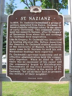 St. Nazianz Marker image. Click for full size.