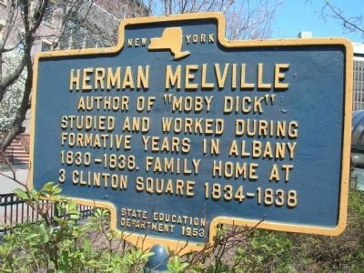 Herman Melville Marker - Albany, NY image. Click for full size.