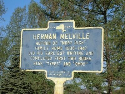 Herman Melville Marker - Troy, NY image. Click for full size.