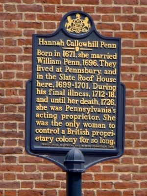 Hannah Callowhill Penn Marker image. Click for full size.