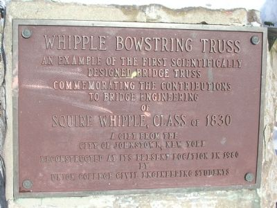 Whipple Bowstring Truss Marker - Union College Campus, Schenectady, NY image. Click for full size.