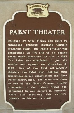 Pabst Theater Marker image. Click for full size.