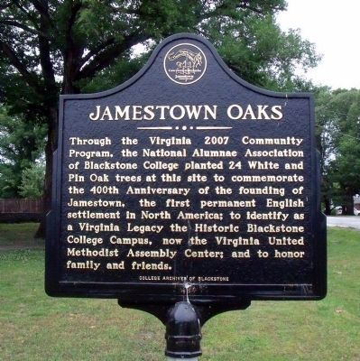 Jamestown Oaks Marker image. Click for full size.