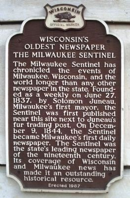 Wisconsin's Oldest Newspaper Marker image. Click for full size.