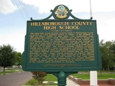 Hillsborough County High School Marker image. Click for full size.