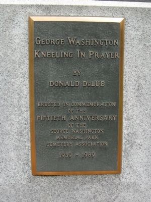 George Washington Kneeling in Prayer Marker image. Click for full size.