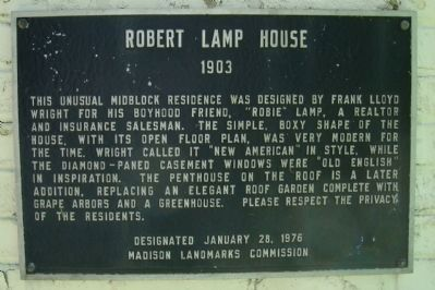 Robert Lamp House Marker image. Click for full size.