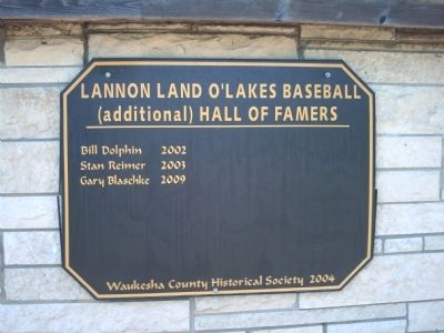Lannon Land O'Lakes Baseball (additional) Hall of Famers Marker image. Click for full size.